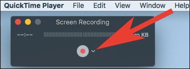 Click on the arrow seen next to the record button in QuickTime Player
