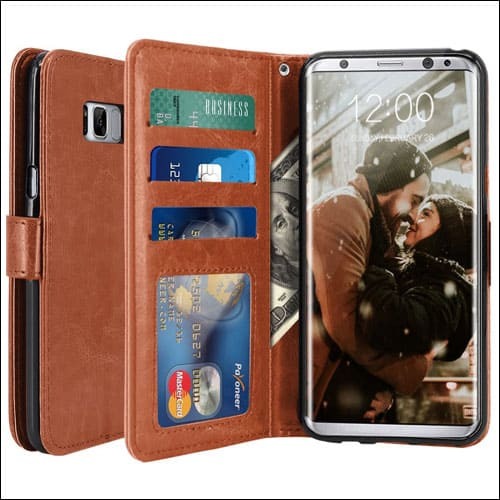LK Leather Wallet Flip Protective Case for Galaxy S8 Plus Case