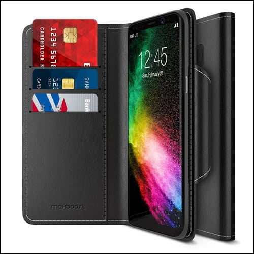Maxboost Leather Flip Cover for Galaxy S8 Plus Wallet Case