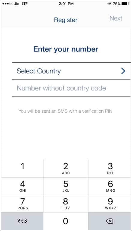 Select Country and Enter Number