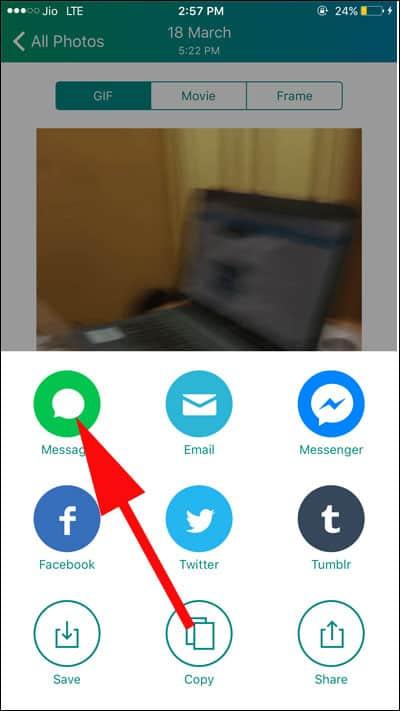 Select Message Option to Share GiF
