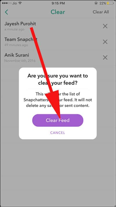 Tap on clear feed and confirm your action