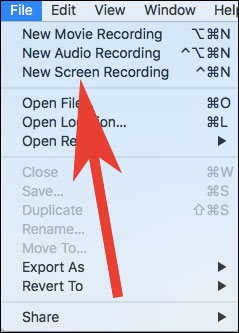 click on New Screen Recording