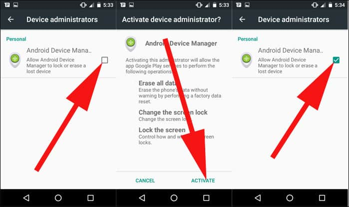Check Android Device Management Option