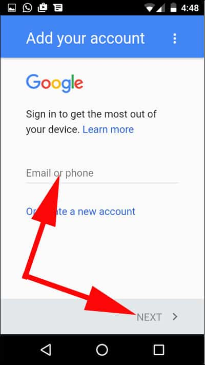 Enter Email ID and Tap on Next