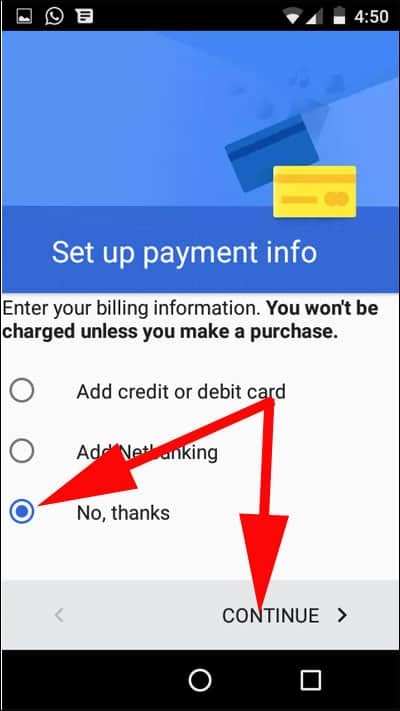 Setup Payment info and Tap on Continue