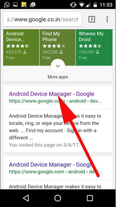 Tap on Android Device Manager