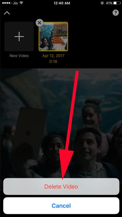 Tap on Delete Video to confirm