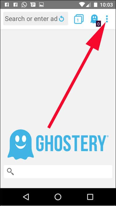 Tap on three vertical dots on Ghostery browser