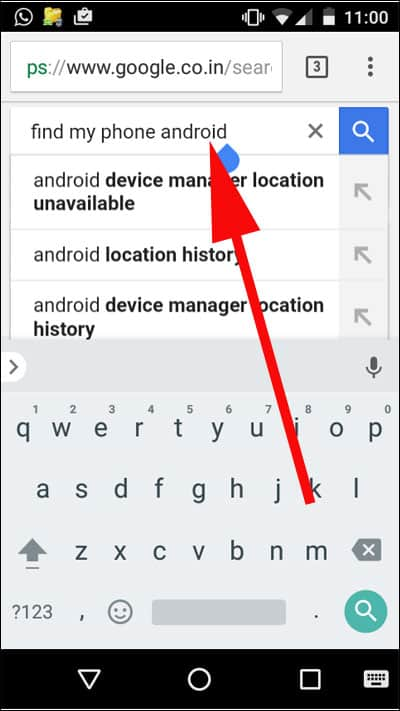 Type find my phone android in Google Search Result