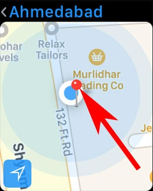 A red mark will apear with blue dot in Apple Watch Map App