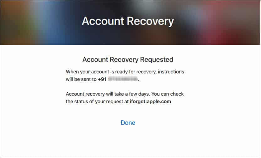 Account Recovery Request Message.