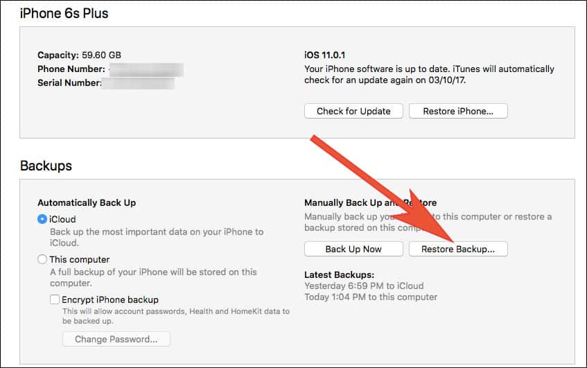 Click on Restore Backup to get your contacts back