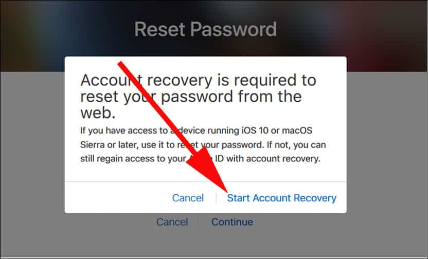 Click on Set Account Recovery Option