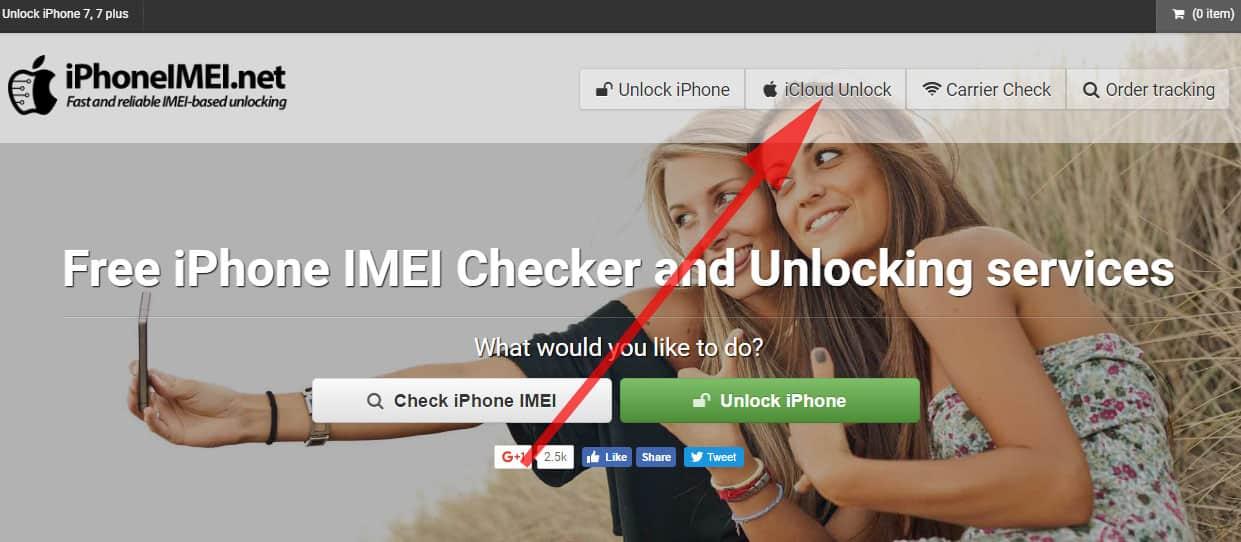Click on iCloud Unlock from Menu