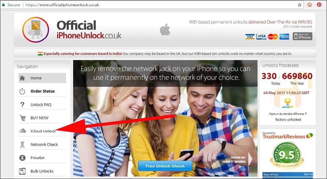 Click on iCloud Unlock