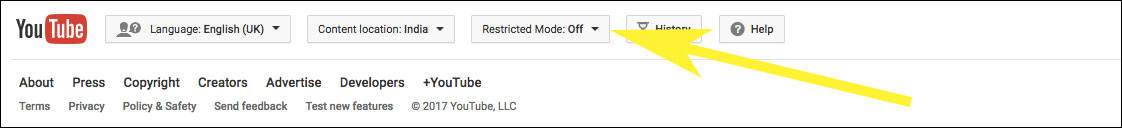 Find Restricted Mode on Youtube