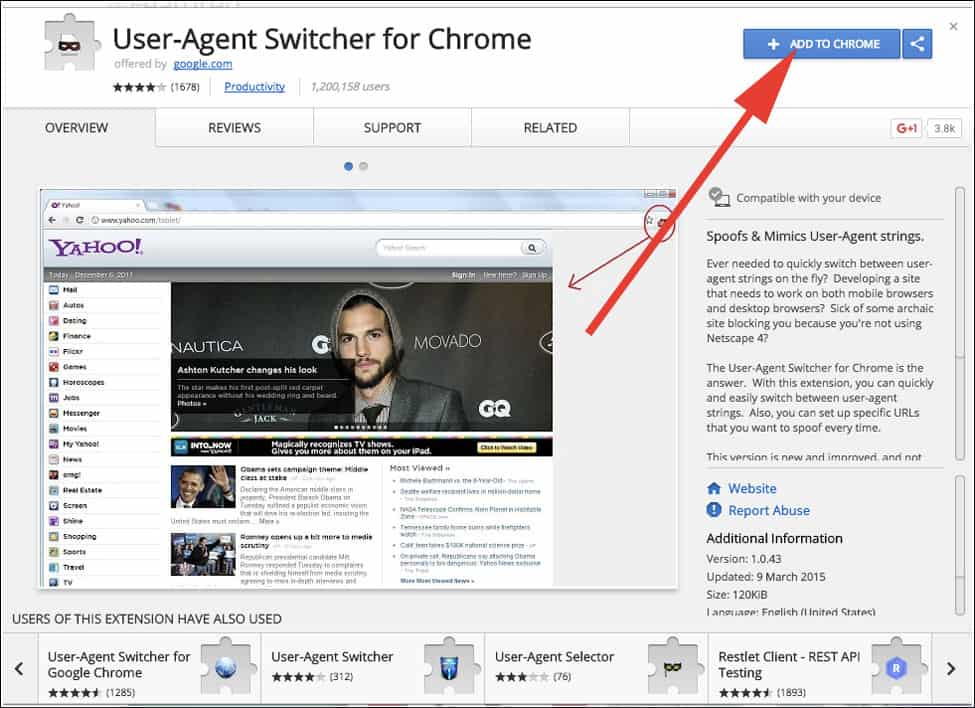 Install User-Agent Switcher for Chrome Extension