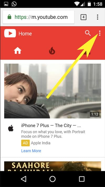 Open youtube and tap on three vertical dots