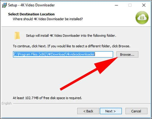 Select Location to Install 4k Video Downloader