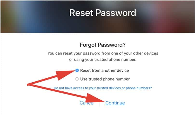 Select Reset from another device and click on continue