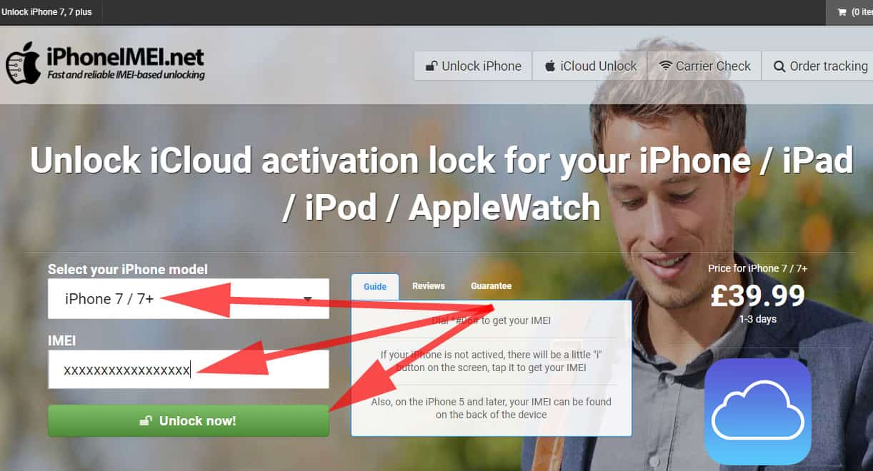 Select iPhone and Enter IMEI Number and Hit Unlock Button