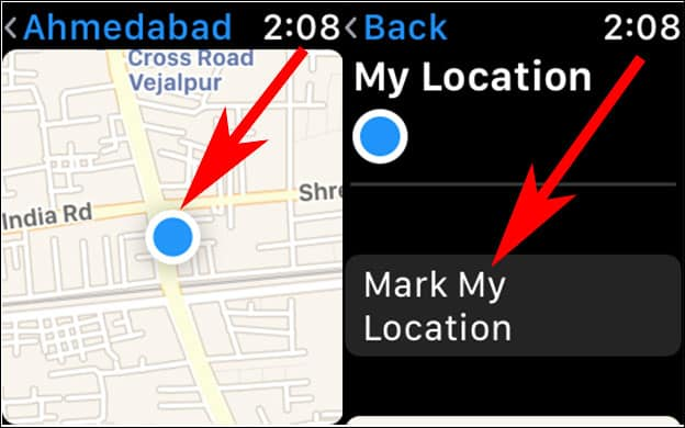 Tap on Blue Circle and Mark your Location