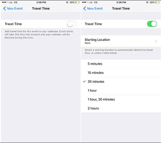 Toggle ON Travel Time and Select Approx time to Travel