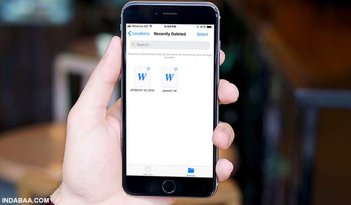 How to Recover Recently Deleted Documents or Files in Files App on iPhone or iPad in iOS 11