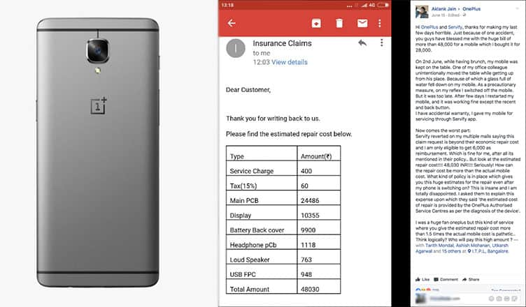 OnePlus 3 owner charged Rs 48000 to fix Rs 28,000 phone