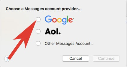 Select Google as a Message Account Provider