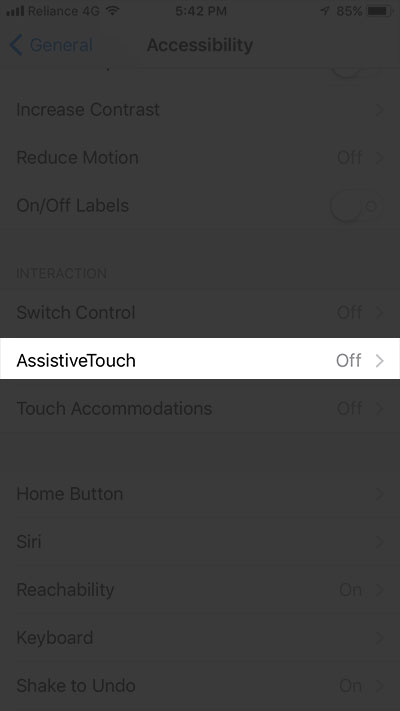 Tap on AssistiveTouch