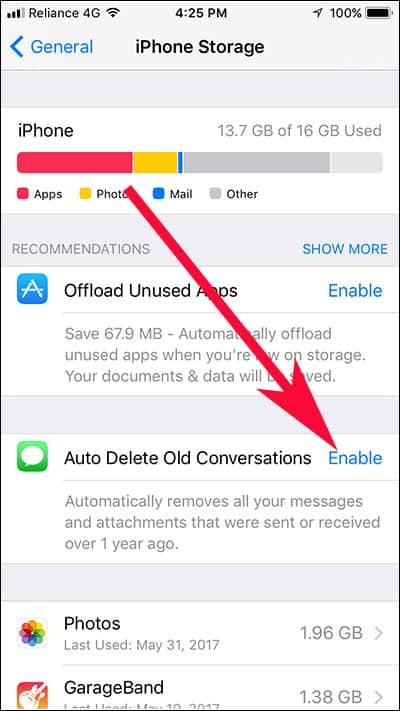 Tap on Auto Delete Old Conversation