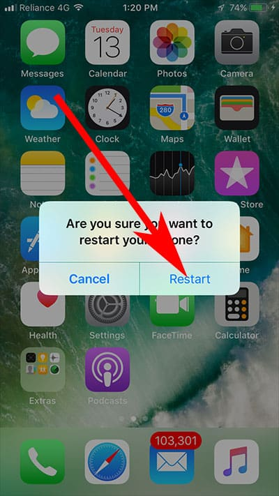 Tap on Restart to confirm