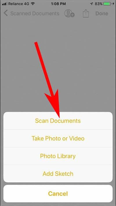 Tap on Scan Documents