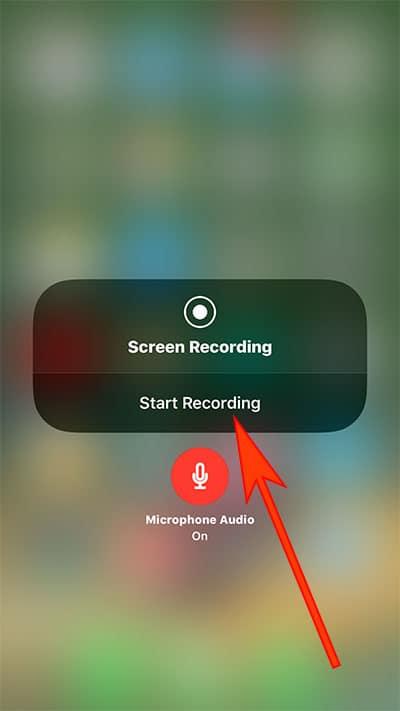Tap on Start Recording