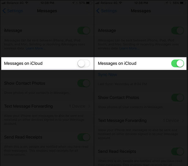Toggle on Messages on iCloud