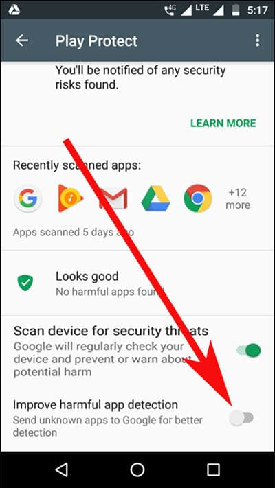 Google Play Protect Harmful App Detection Disabled