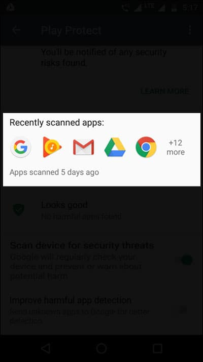 Google Play Protect Recently Scanned Apps