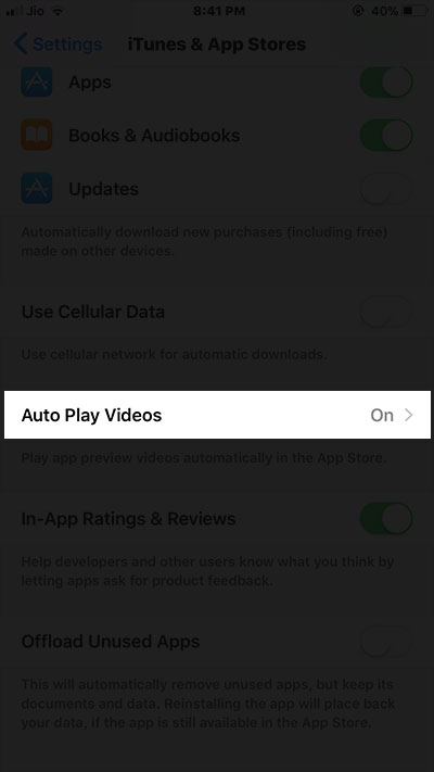 Tap on Auto Play Videos