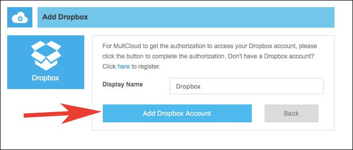 Click on Add Dropbox Account