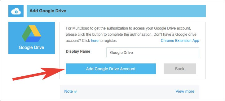 Click on Add Google Drive Account
