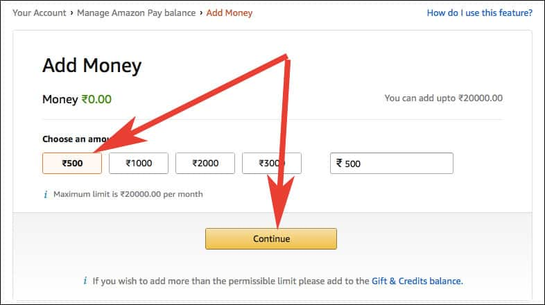 Click on Amount you want to Add to Amazon Pay