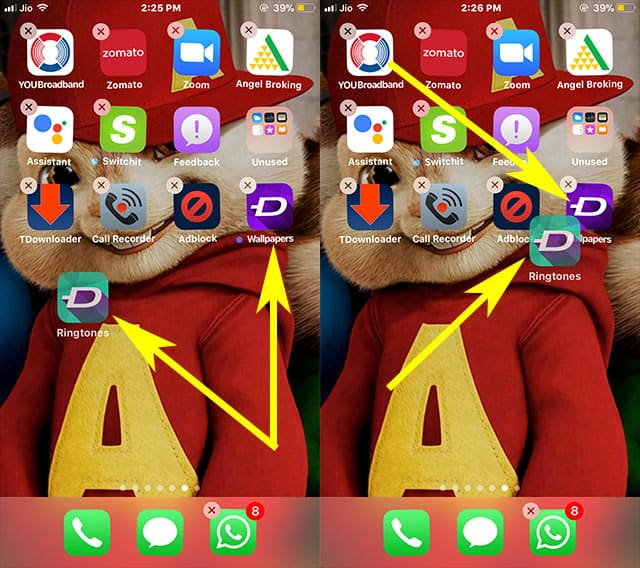 Drag the selected app to another app