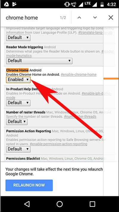Enable Chrome Home option