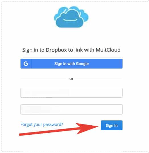 Enter Dropbox ID and Password and Click on Regards, Signin