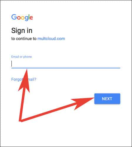 Enter Google Drive Details and Click on Next