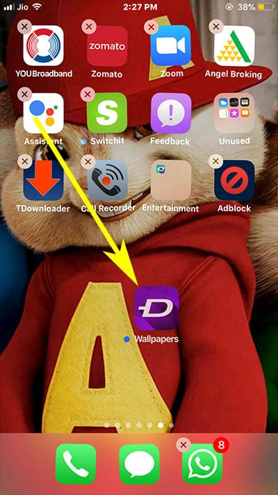 Here you will see that the app you drag out of the folder in now removed