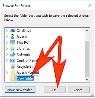 Enter Folder Name and Click on OK