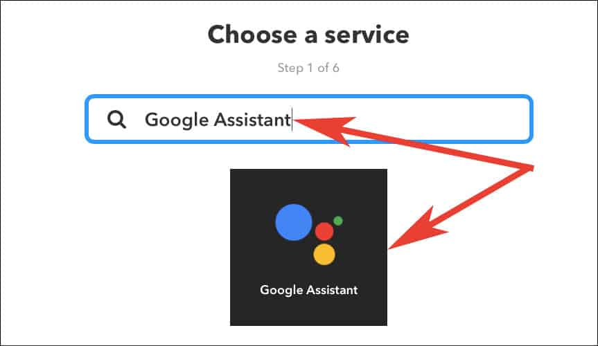 Enter Google Assistant in Search box